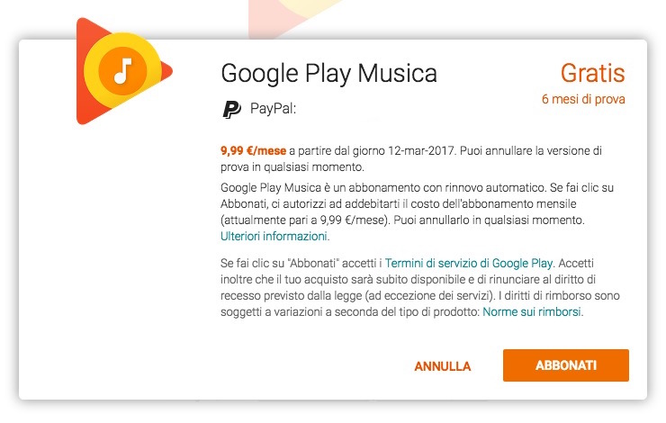 google play music unlimited offerta settembre 2016