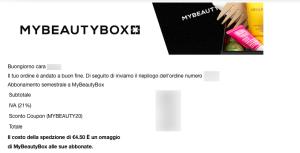 My Beauty box email di conferma ordine
